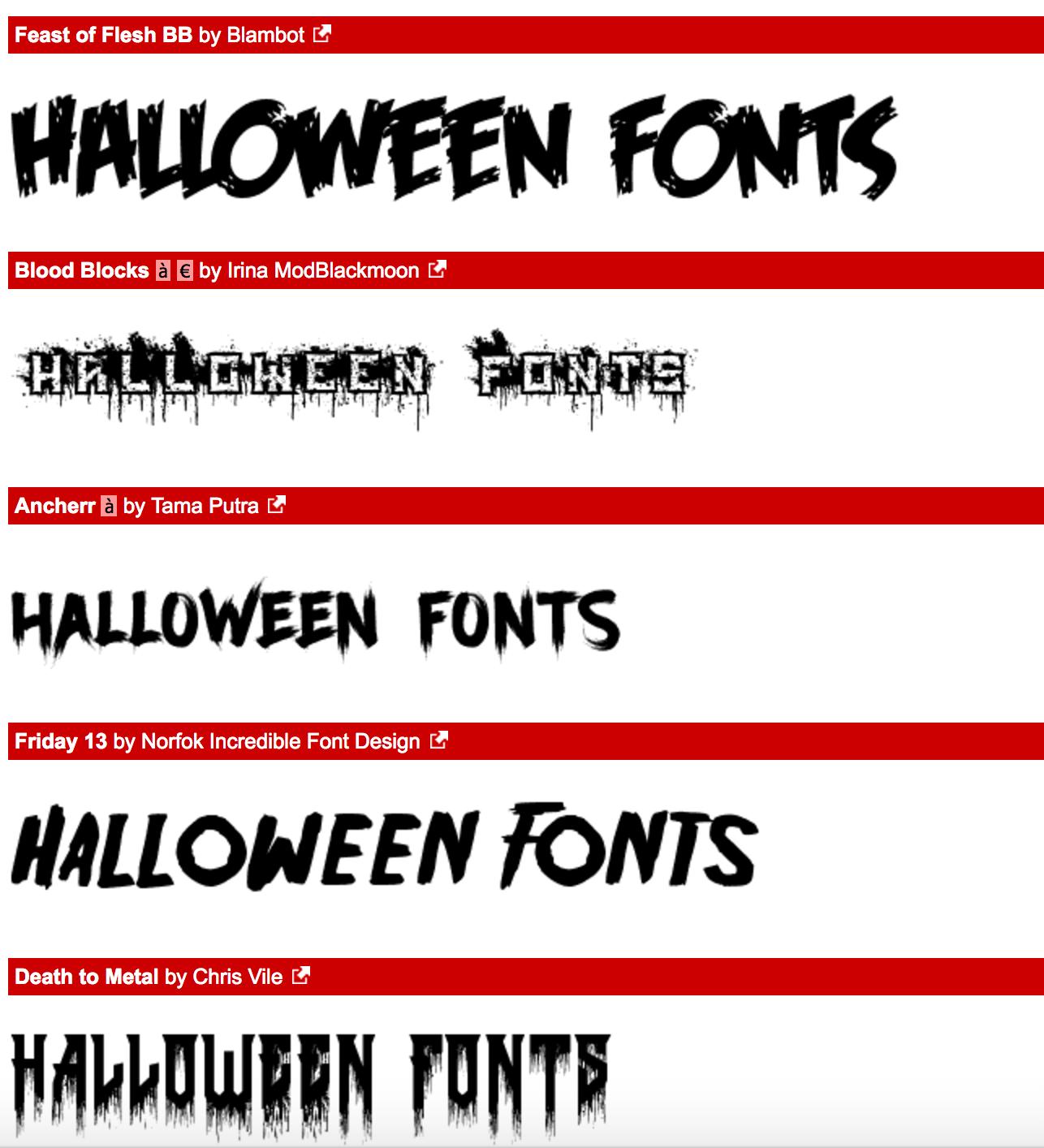 Halloween Fonts, Free Halloween Fonts | GlendaleHalloween