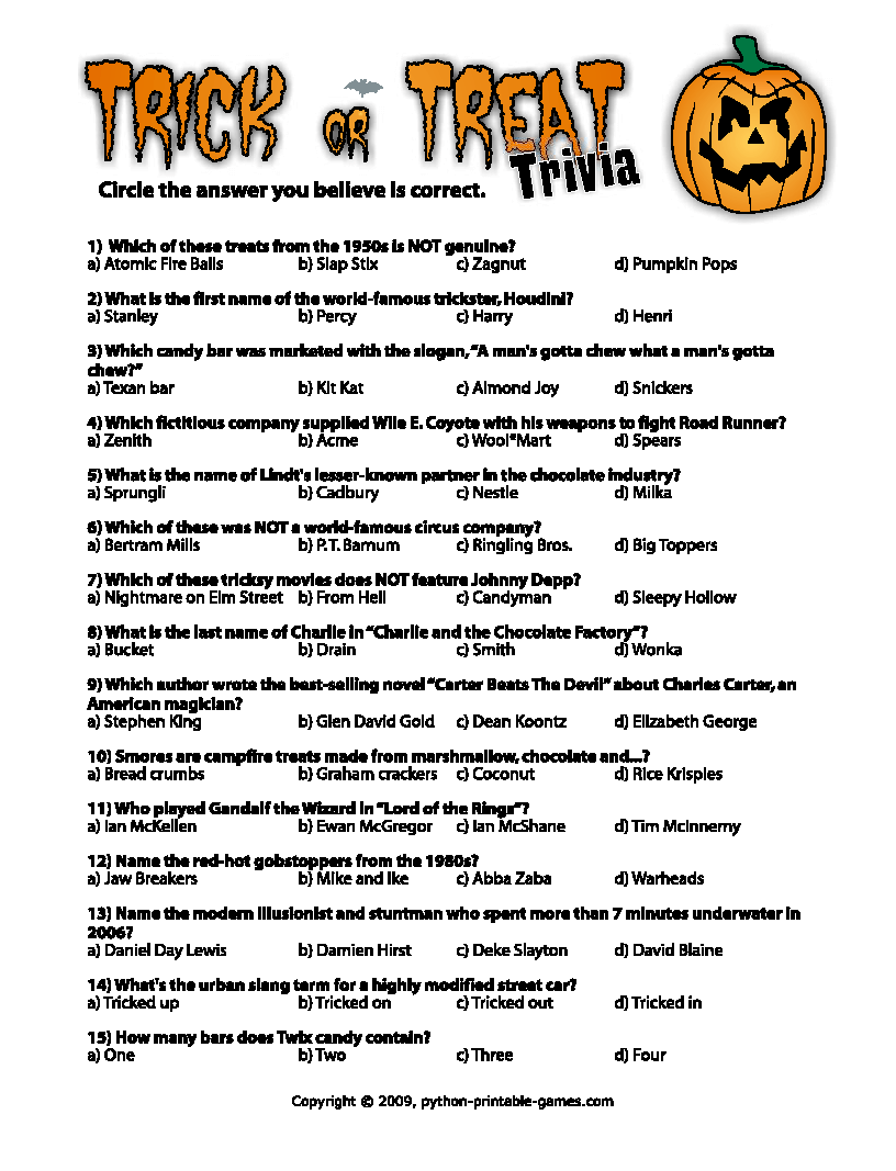 halloween trivia questions and answers - Halloween Trivia With Answers