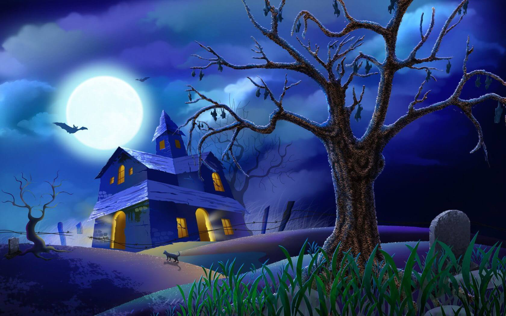 halloween screensaver haunted house