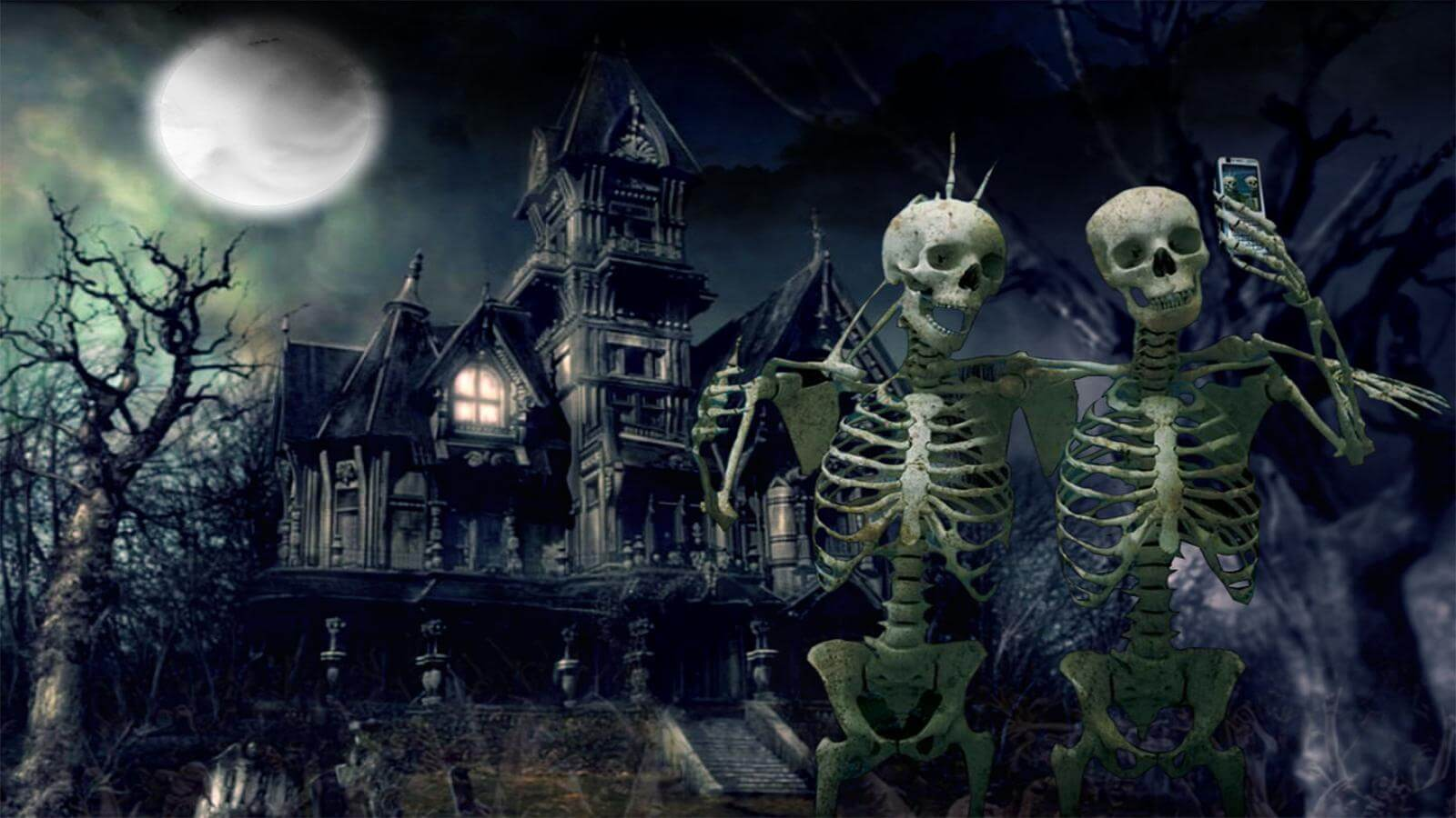 Happy Halloween Wallpaper Skeletons Haunted House